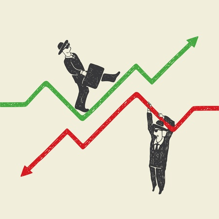 down arrow: Businessman up and down Illustration