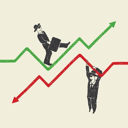 Geschäftsmann nach oben und unten Vektorgrafik