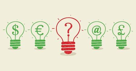 Set of conceptual light bulbs