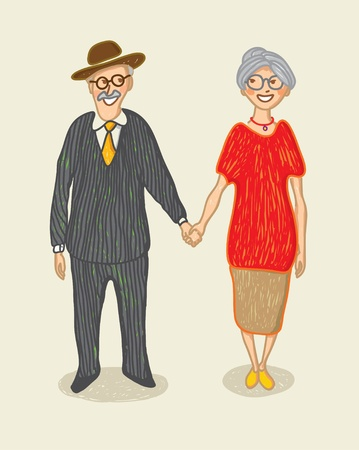 Grandmother and grandfather Stock Vector - 12483996