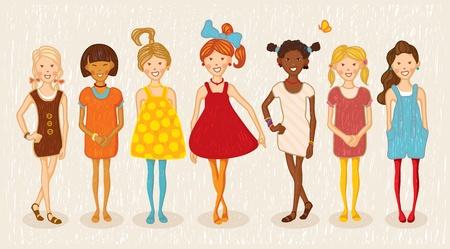 Zeven meisjes illustratie set