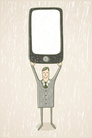 Businessman with mobile phone Stock Vector - 12822542