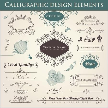 calligraphique: Vector. La conception calligraphique. �l�ments de d�coration et la page.