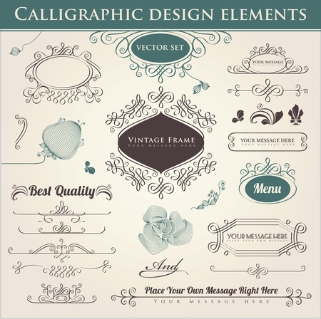Vector set. Calligraphic design. Elements and page decoration. Vetores