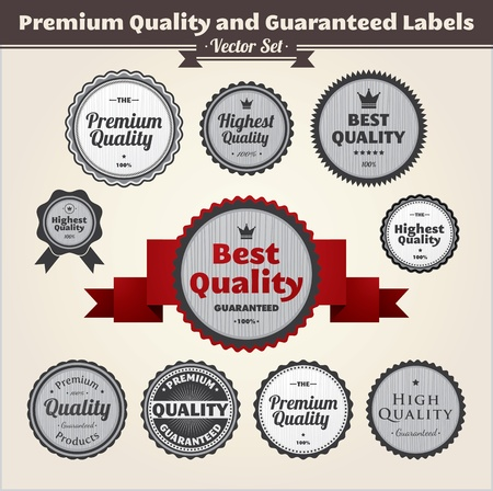 Premium Quality And Guaranteed Labels Illustration