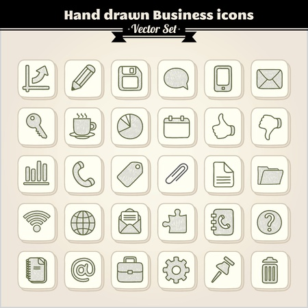 Hand Drawn Business Icons Stock Vector - 13429631