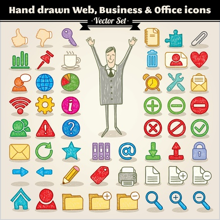 Hand Drawn Web, Business And Office Icons Stock Vector - 13429632