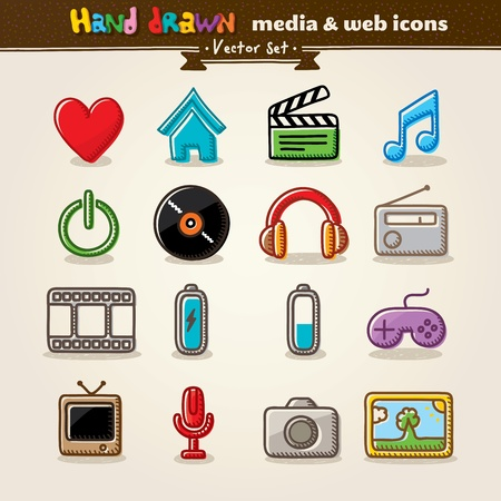 Hand Drawn Media And Entertainment Web Icons Stock Vector - 13591152