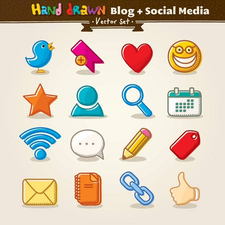 Vector Hand Draw Blog And Social Media Icon Set Stock Vector - 13591151