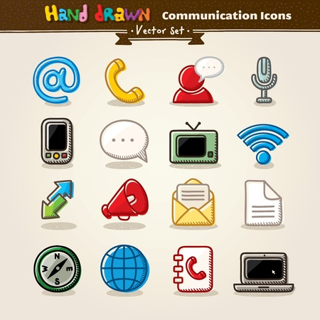 Vector Hand Draw Communication Icon Set Vector