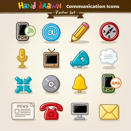 Dibujar a mano Vector Icon Set Comunicación