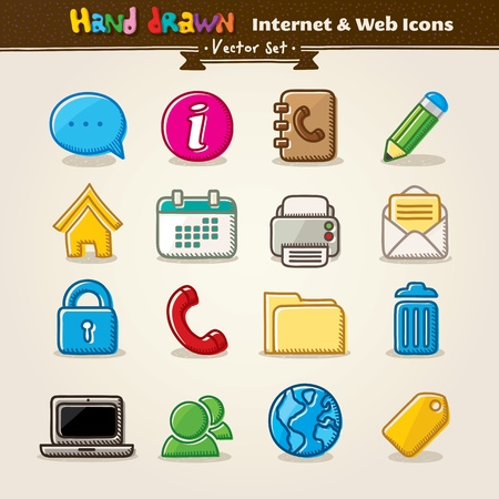 Vector Hand Draw Internet And Web Icon Set Illustration
