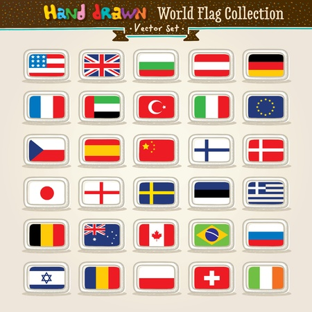 Vector Hand Draw World Flags Icon Set Vector