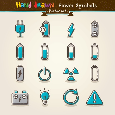 electric charge: Vector Hand Draw Power Symbols Icon Set