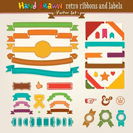 Vector Hand Draw Set Of Retro Ribbons And Labels Vector