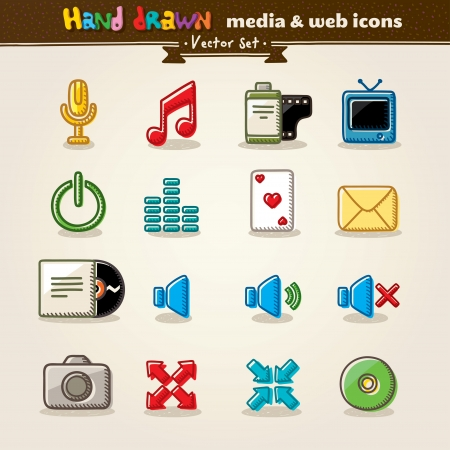 Hand Drawn Media And Entertainment Web Icons Stock Vector - 13638533