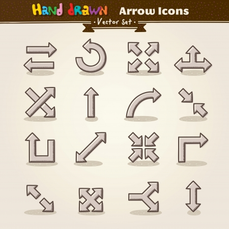 Hand Draw Arrow Icon Set Stock Vector - 13638532
