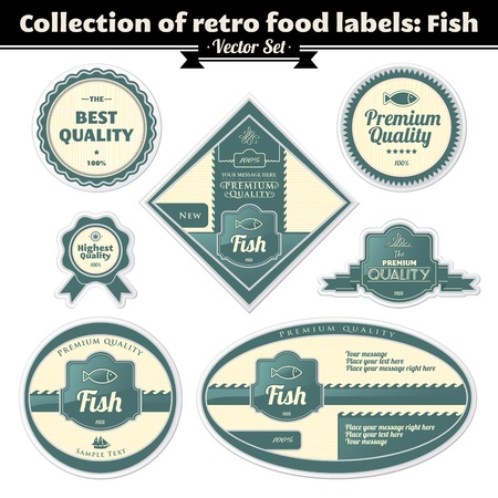 Collection Of Retro Food Labels  Fish