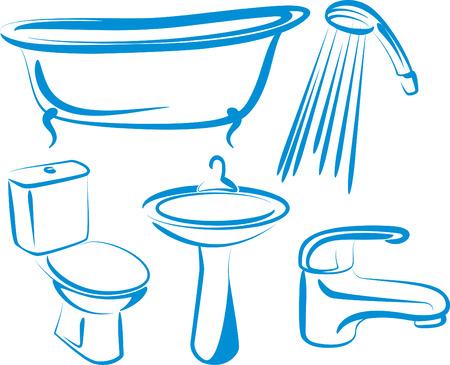 гардероб: ванная комната Иллюстрация
