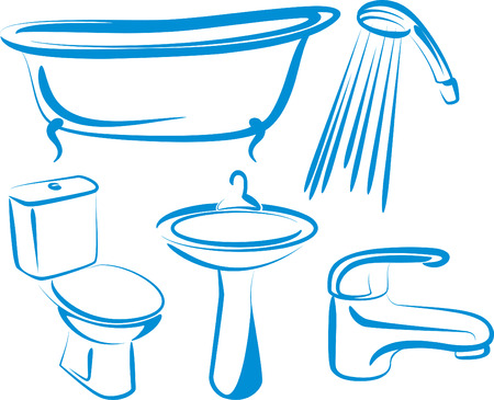 cleaning bathroom: bathroom Illustration