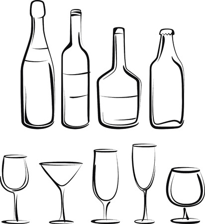 bottle of wine: bottles  and glasses set