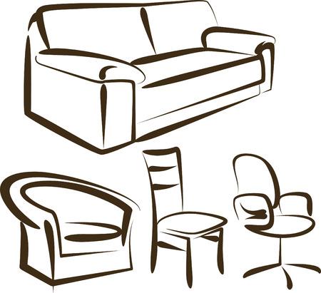 interior decorating: mobili Vettoriali
