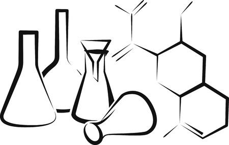 caution chemistry: chemical glassware Illustration