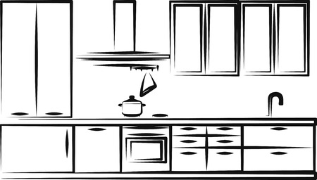 domestic kitchen: Kitchen furniture Illustration