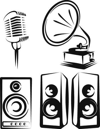 equipos de música  Ilustración de vector
