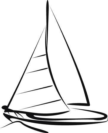 sailing vessel: barco de vela  Vectores