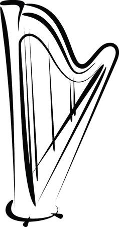 húros: hárfa Illusztráció