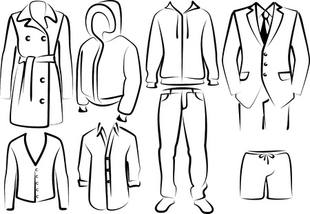 collection of men's clothes Vector