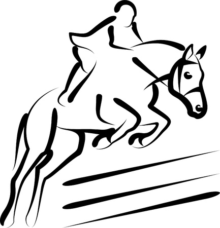cavallo che salta: sport equestri Vettoriali