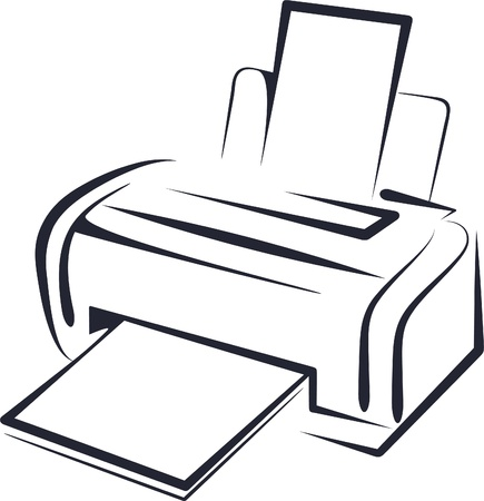 peripherals: illustration with a printer Illustration