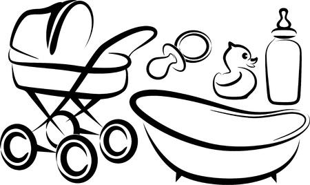 baby duck: insieme di oggetti per bambini Vettoriali