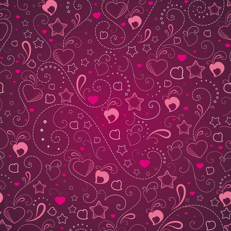 Abstract background with hearts and stars Stock Vector - 9507499