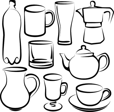 coffeepot: set of drinks Illustration