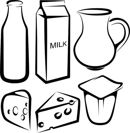 yaourt: ensemble de produits laitiers Illustration