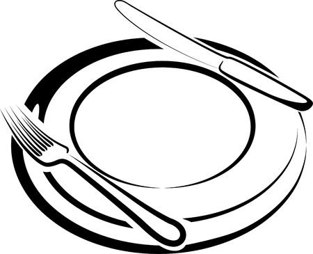 cuchillo y tenedor: hora del almuerzo Vectores