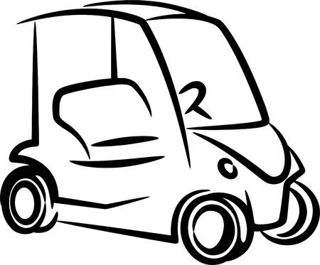 illustration with a golfcar Illustration