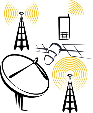 wireless tower: illustration with a set of radio devices Illustration