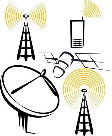 illustrazione con una serie di dispositivi radio