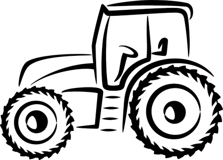 agricultural machinery: simple illustration with a tractor