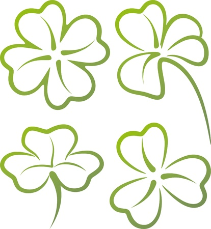 four leaf clovers: illustration with a set of clover leaves