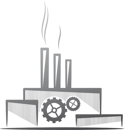 silhouette industrial factory: symbolic illustration with a factory. Industry concept