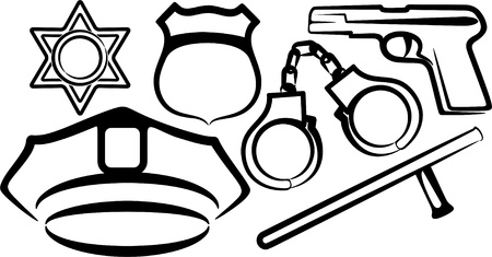 security officer: simple illustration with a set of police items