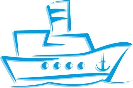 overseas: ilustraci�n simple con un barco