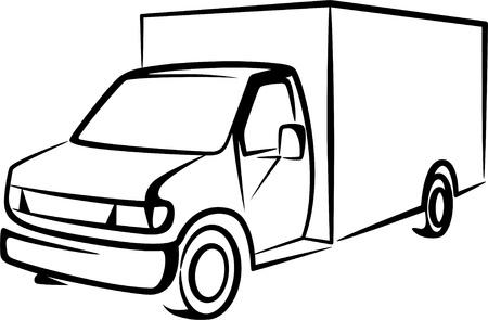 transporte de mercancia: Ilustraci�n con un cami�n
