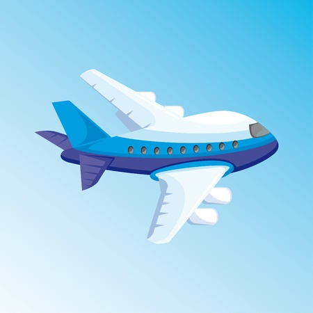 cartoon illustration with airplane Vector