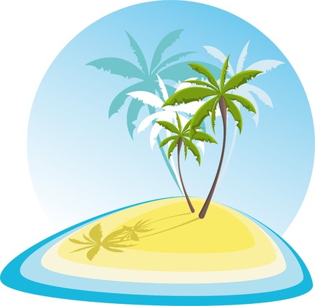 simple illustration with small island Vector